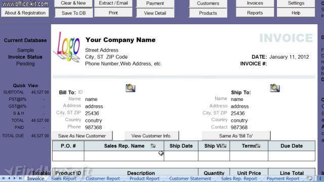 Download Excel Invoice Manager Free - Simple invoice manager