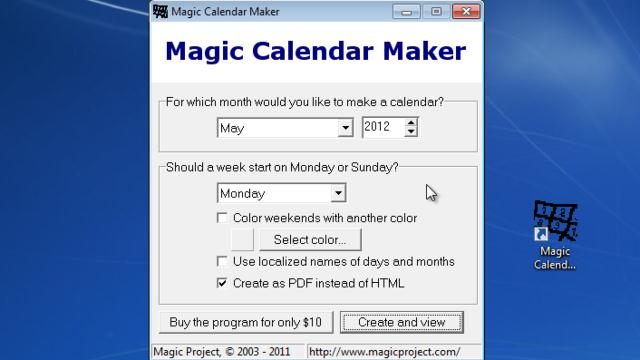 download magic calendar maker free