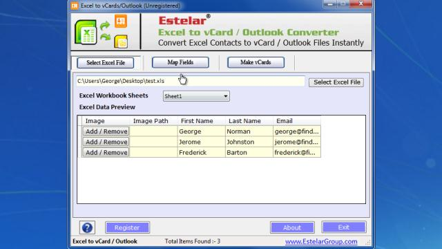 Download Excel to vCard & Outlook Converter Free